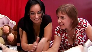 Two mature sluts love teasing him whille he is hard