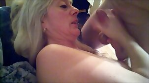Slut granny takes 2 loads on her beautiful tits