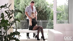 Sensual foot fucking & pussy penetration with busty Milf Florane Russell