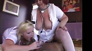 Two Mature big ass big tit Nurses using a BBC for pleasure