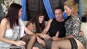 These Stunning Hot Cougars Have Wild Orgy With Guy!