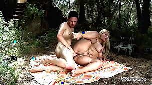 Busty mom take stepson to the nature where brutally fuck his big cock
