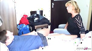 German MILF Caught Young Boy Jerk and Help him with Fuck