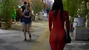Red transparent dress in public