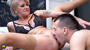 Two hot mature moms at sex dates with boys