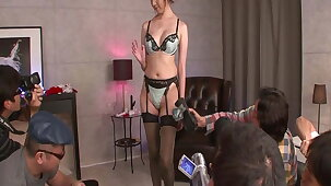 Japanese whore has fun with 9 guys and gets fucked like a toy